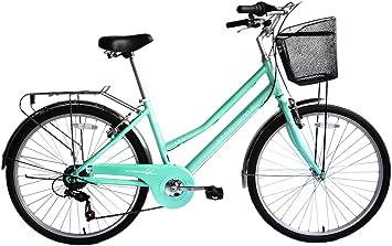 ECOSMO 26C25BL+Basket - Bicicleta de paseo (con cesta, para mujer ...