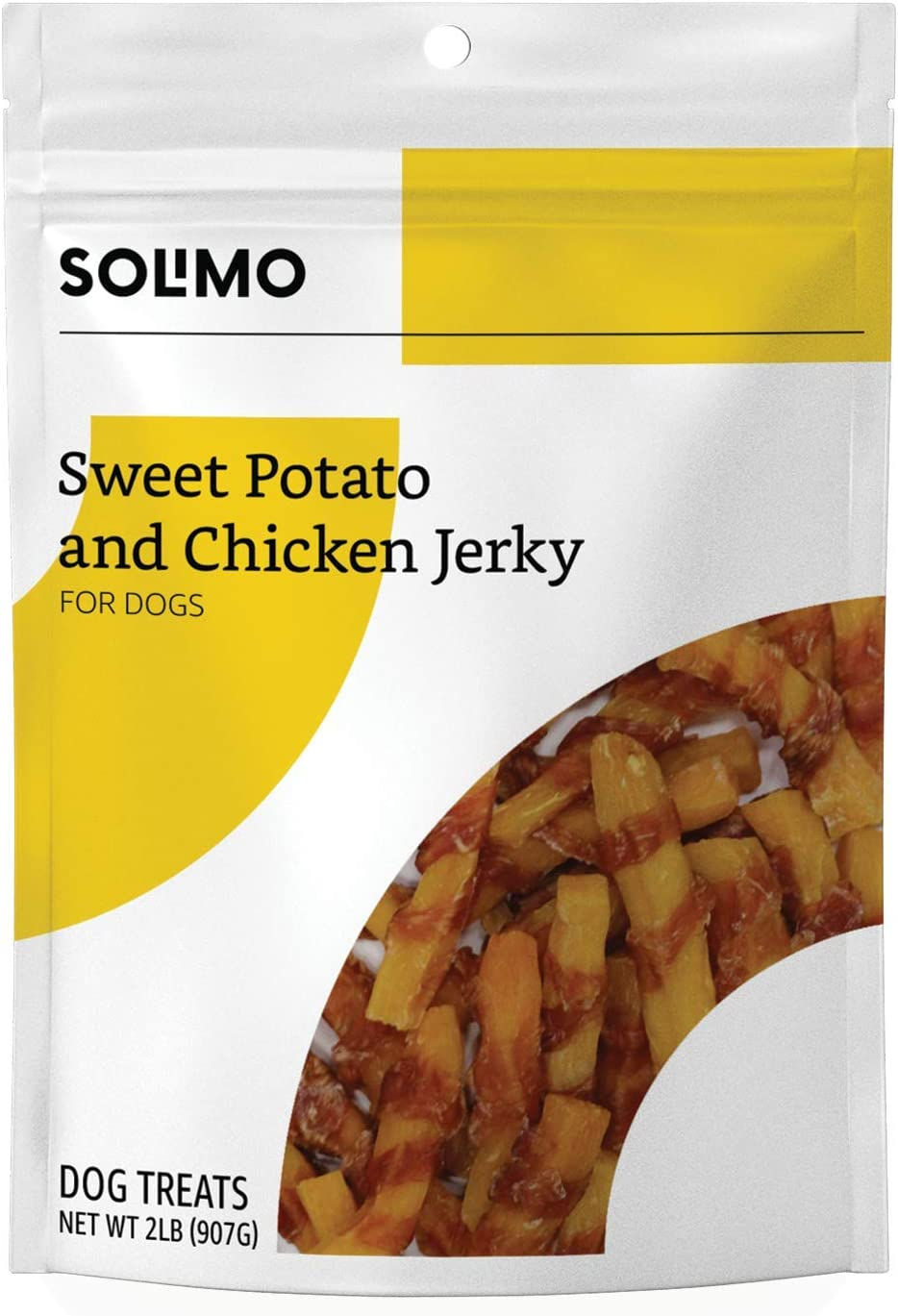 Amazon Brand - Solimo Jerky Dog Treats, 2 Lb Bag (Chicken, Duck, Sweet Potato Wraps)