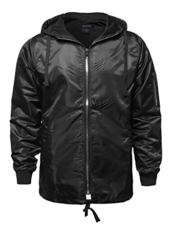 2237698312b8e7 Youstar Casual Solid Color Zipper Detail Waterproof Windbreaker Black Size S