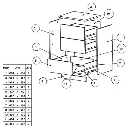 NACHTTISCH #127 Sonoma-Eiche 3X Schublade Holz Nachtschrank Nachtisch 67cm hoch