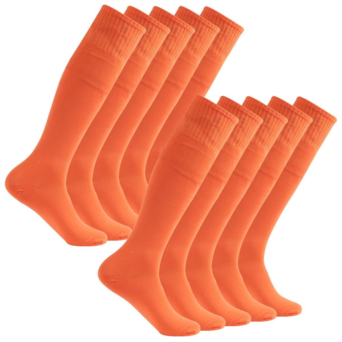 Feelingway Unsiex Knee High Athletic Soccer socks 10 Pairs Orange by Atrest