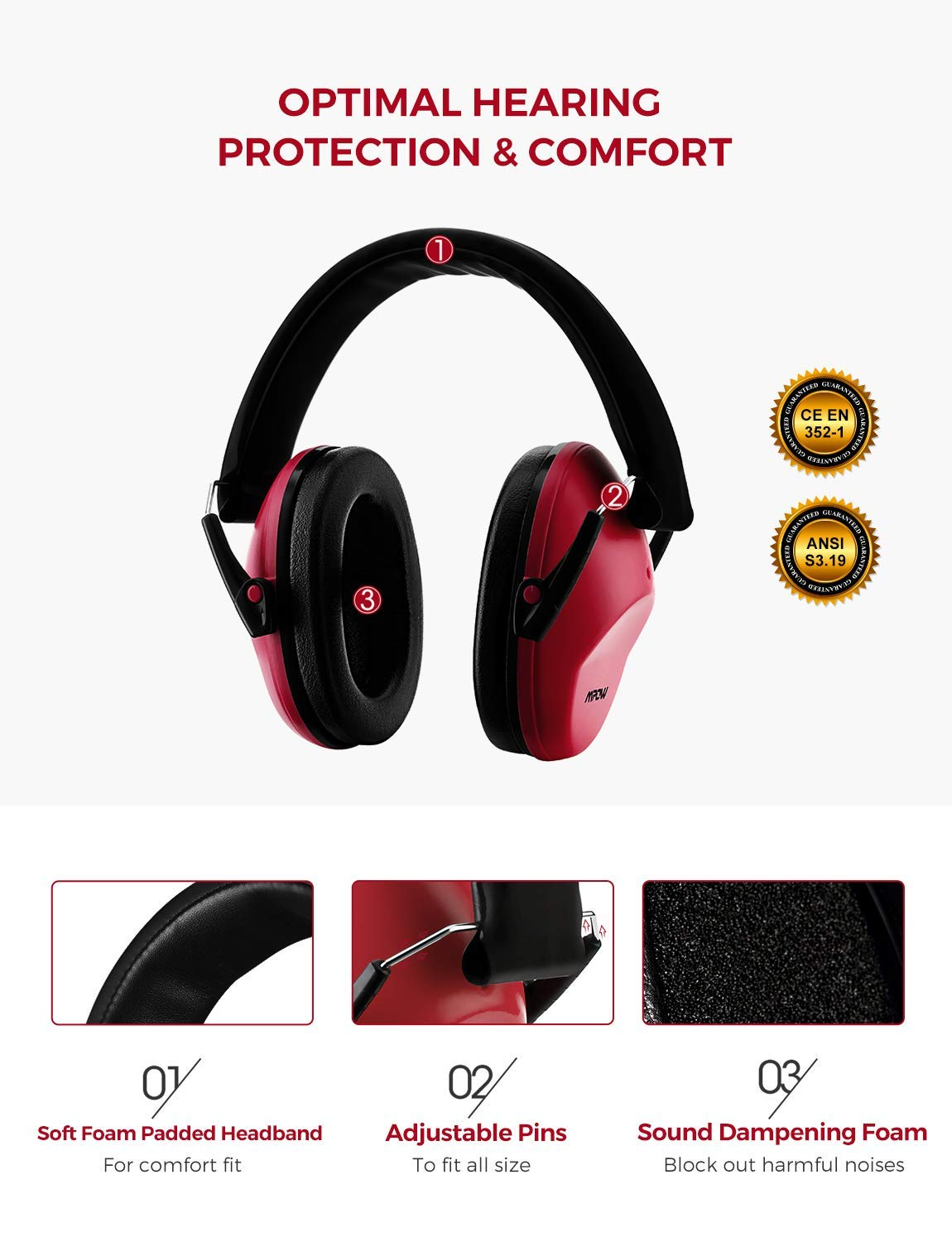 Mpow 068 Kids Ear Protection, NRR 25dB Noise Reduction Ear Muffs, Toddler Ear Protection, Protective Earmuffs for Shooting Range Hunting Season, for Toddlers Kids Children Teens by Mpow (Image #2)