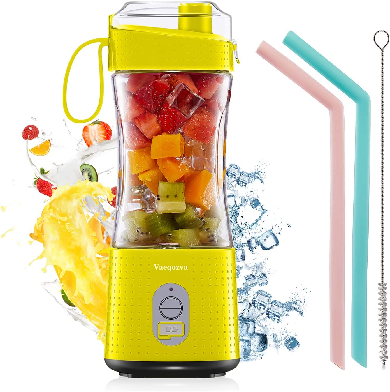 Vaeqozva Portable Blender, Personal USB Rechargeable Juice Cup for Smoothie and Protein Shakes Mini Handheld Fruit Mixer 13Oz Bottle for Travel Gym Home Office Sports Outdoors Yellow