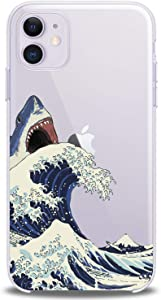 """Cavka TPU Cover for Apple iPhone Case 11 New 2019 Model 6.1"""" inches Iph Shark Great Wave Man Flexible Silicone Clear Cute Woman Design Slim fit Animals Watercolor Print Gift Soft Nature Lightweight"""