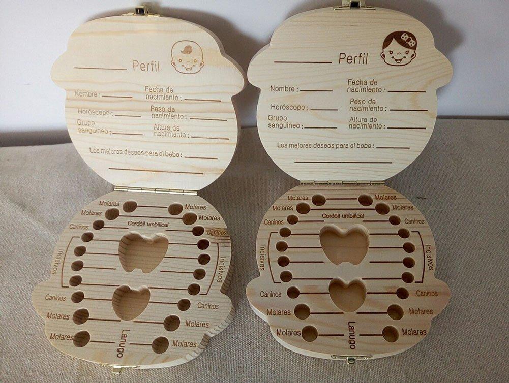 Wakerda Lindo Caja de guardado de Dientes de beb/éCaja de Recuerdos de Madera para beb/és ni/ños Dientes de Leche Ni/ños ni/ñas Ni/ña,Espa/ñol