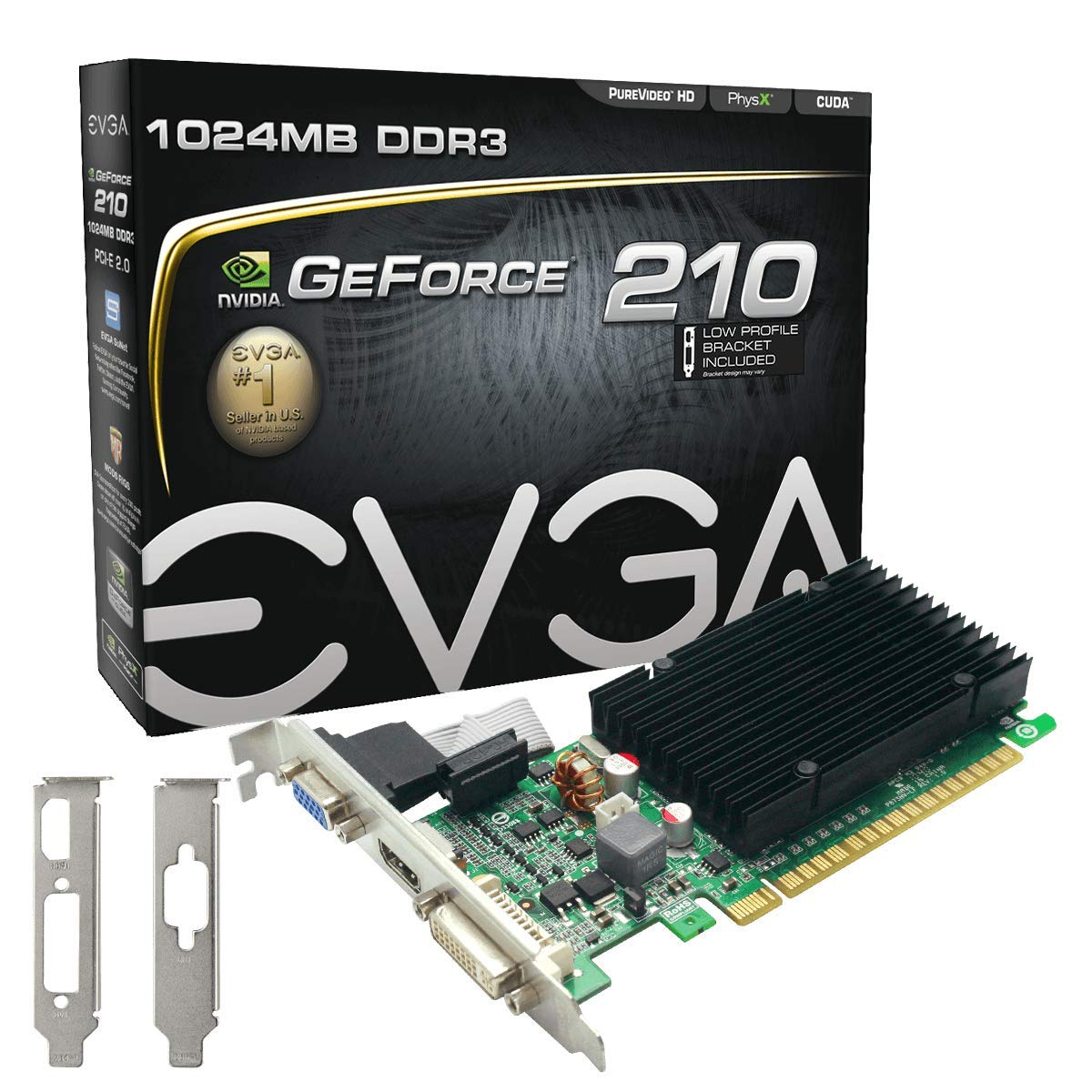 EVGA GeForce 210 Passive 1024 MB DDR3 PCI Express 2.0 DVI/HDMI/VGA Graphics Card, 01G-P3-1313-KR by EVGA (Image #1)