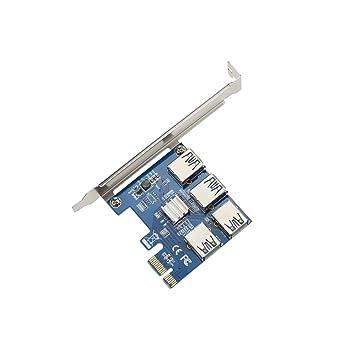ADWITS 4-IN-1 PCI-E 1X Tarjeta adaptadora Vertical, Ranura 1X PCI Express a 4 Puertos USB3.0 Concentrador de GPU Extender para Ethereum Mining Eth- ...