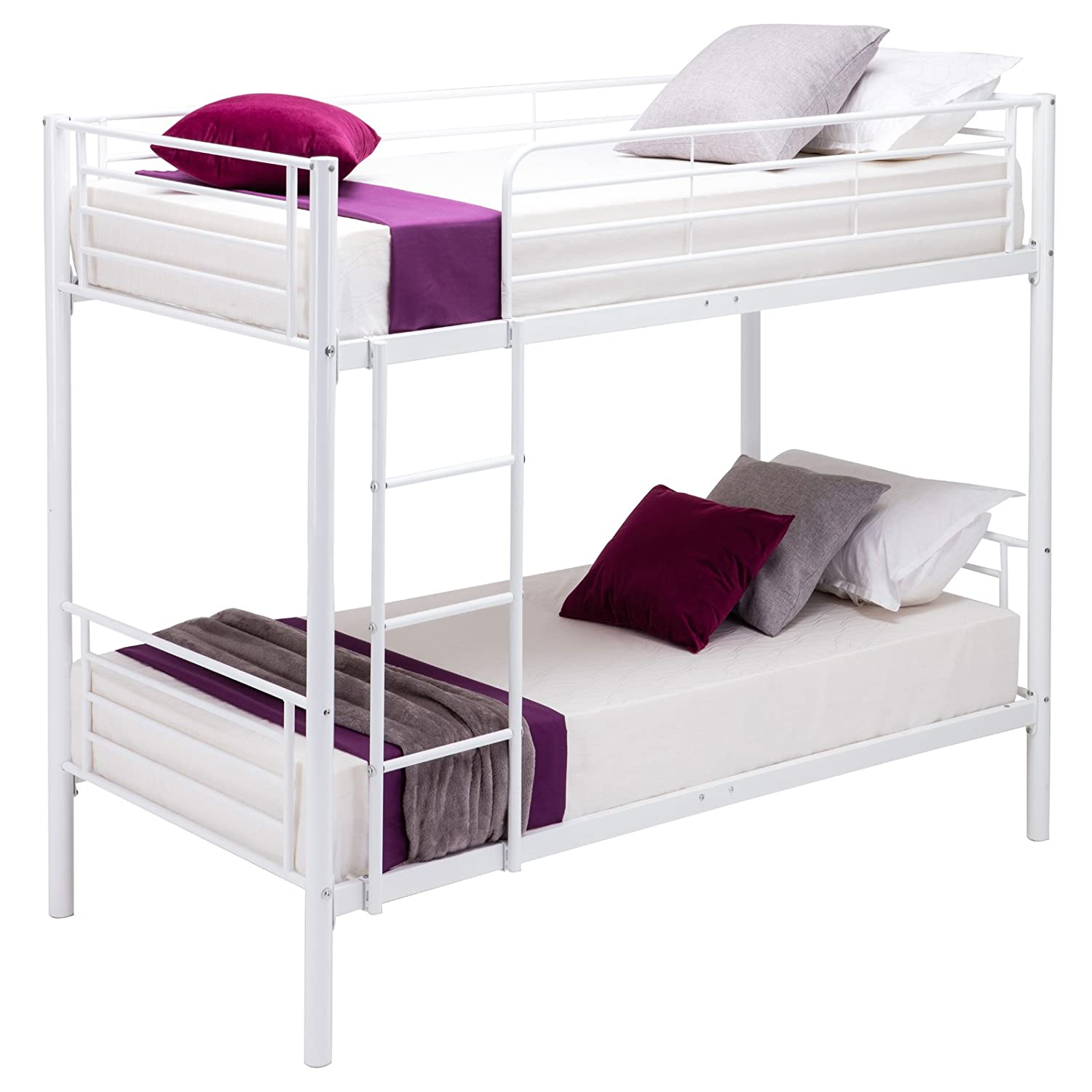 UEnjoy 2x3FT Single Metal Bunk Beds Frame for Adult and Children White