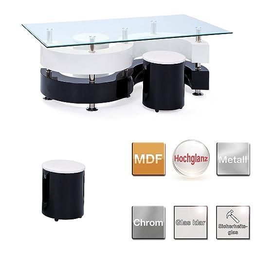 Links 50100015 Couchtisch Glastisch Wohnzimmertisch Wohnzimmer Tisch Glas 2 Hocker Schwarz Weiss Amazonde Kche Haushalt
