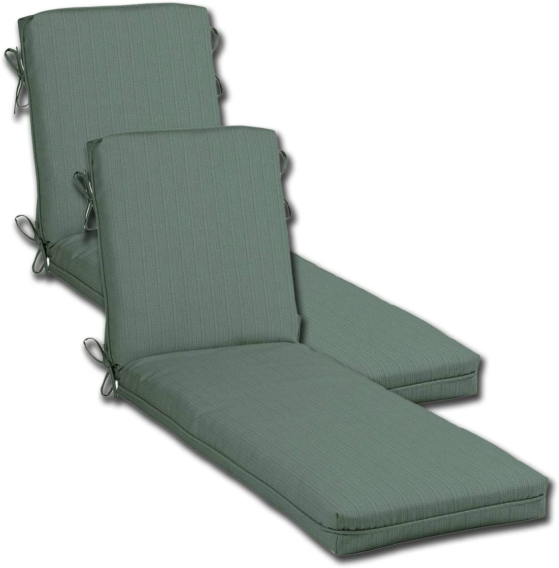 Comfort Classics Inc. Set of 2 Outdoor Patio Chaise Cushions with Single Welt, 21 W x 72 L Seat 48 Back 24 x 4 H. Polyester Fabric Blue Texture