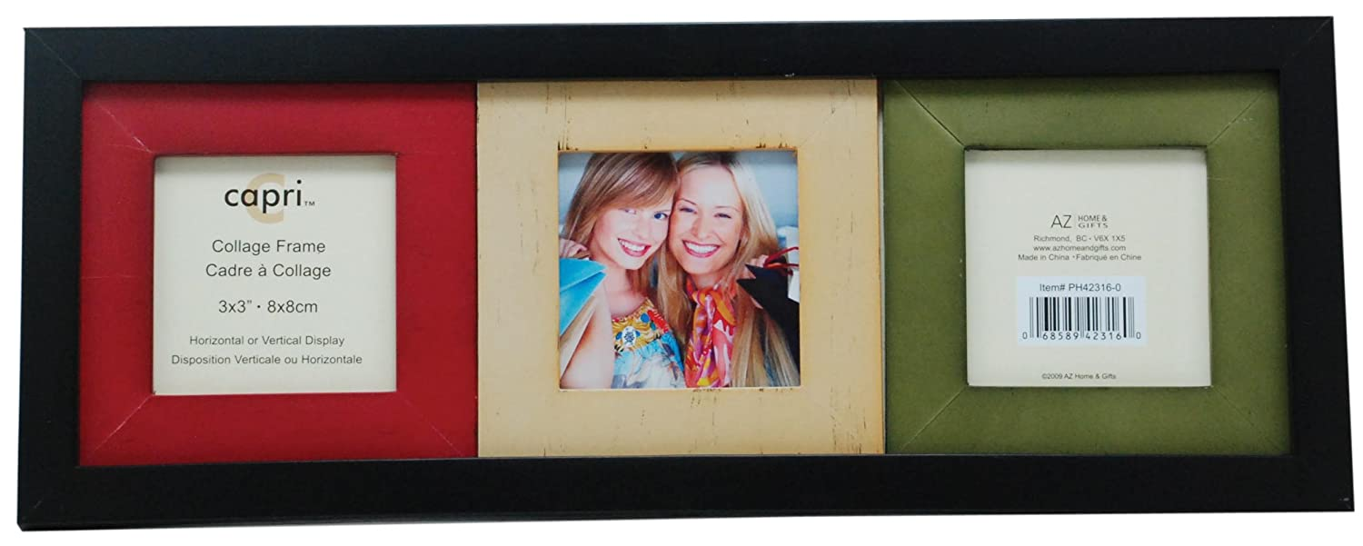 Kiera Grace 14 Inch by 5.25 Inch Picture Frame Three 3 Inch by 3 Inch Black with Multicolor Openings