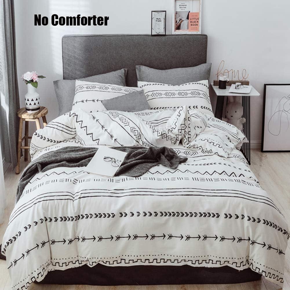Cotton Queen Bedding Set Kids Duvet Cover Sets White Black Herringbone Stripe Geometric Bedding Comforter Cover Zip Closure Corner Ties Quilt Cover Set 1 Duvet Cover 2 Pillowcases for Boy Girl