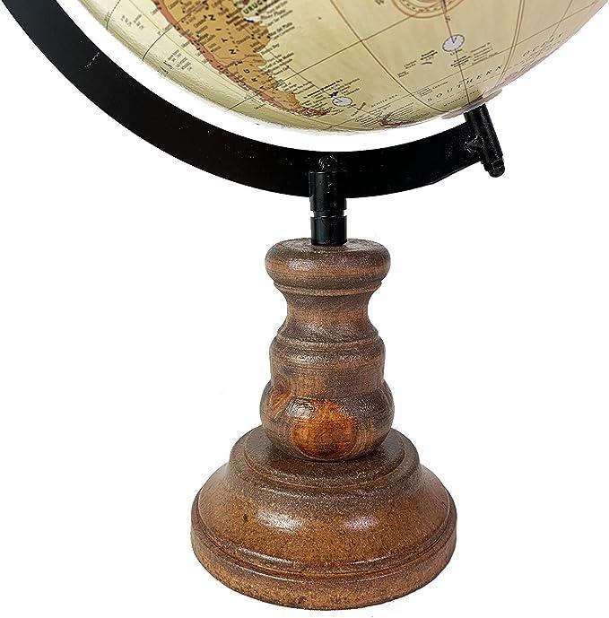 Globus Weltkugel mit Holzständer Standglobus Antik-Stil 37x23x20cm