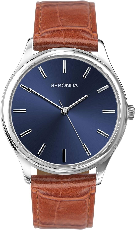 Sekonda 1534 - Reloj analógico de cuarzo para hombre con esfera azul y correa de piel marrón