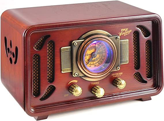Retro Wireless Bluetooth Radio Speaker - Classic Vintage Style Audio Sound Receiver System w/Built-in Stereo Speakers
