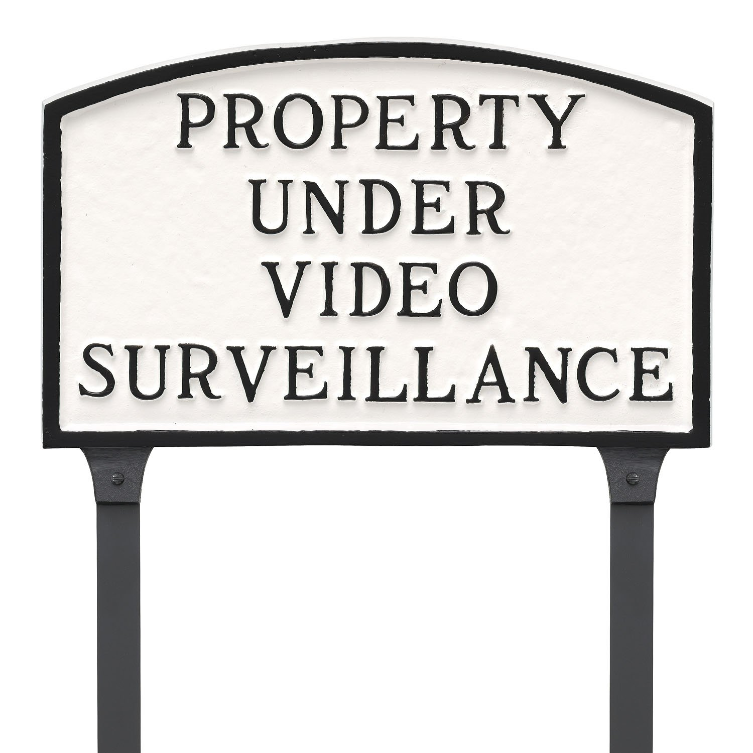 Montague Metal Products 13'' x 21'' Property Under Video Surveillance Statement Plaque & 23'' Stake, White/Black