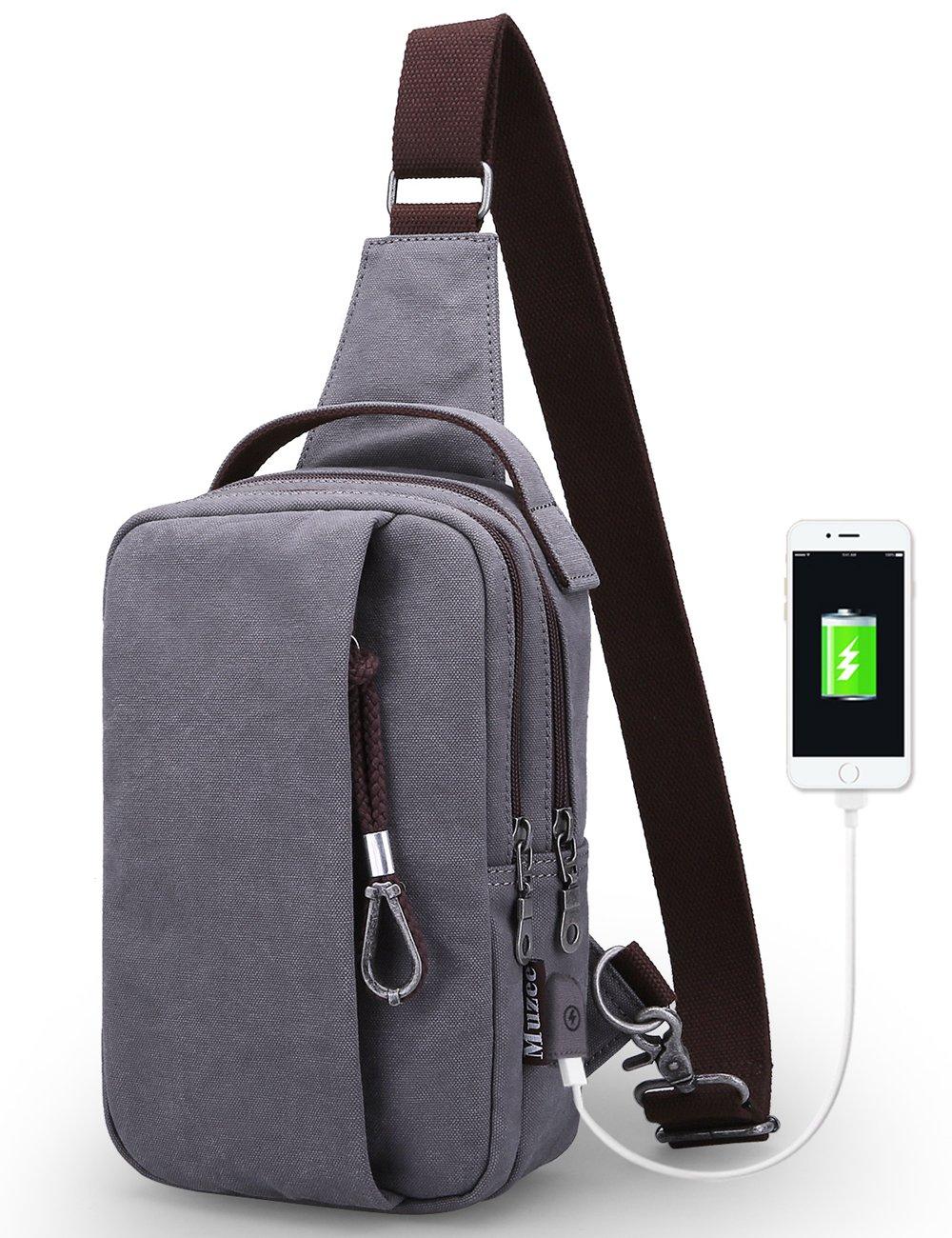 Muzee Sling Bag for Men Chest Shoulder Gym Backpack Outdoor Crossbody Pack with USB Charging Port