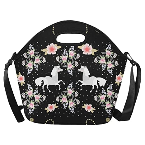 0c489d104545 InterestPrint Large Insulated Lunch Tote Bag Cute Cartoon Horse Flowers  Reusable Neoprene Cooler 15.04