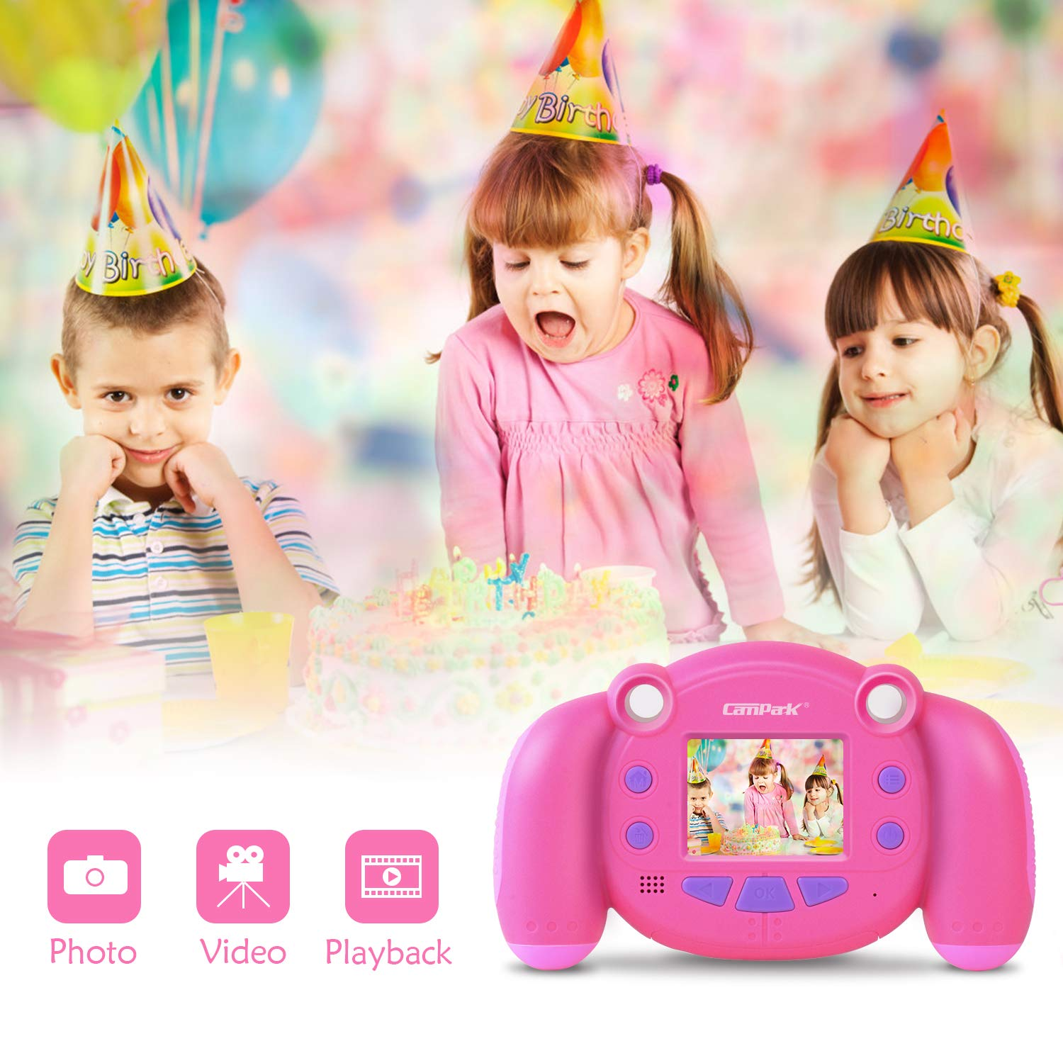 Campark Kids Camera, Mini Child Camcorder with HD LCD Display 16GB Memory Card for Girls Pink Great Birthday Gift by Campark (Image #2)
