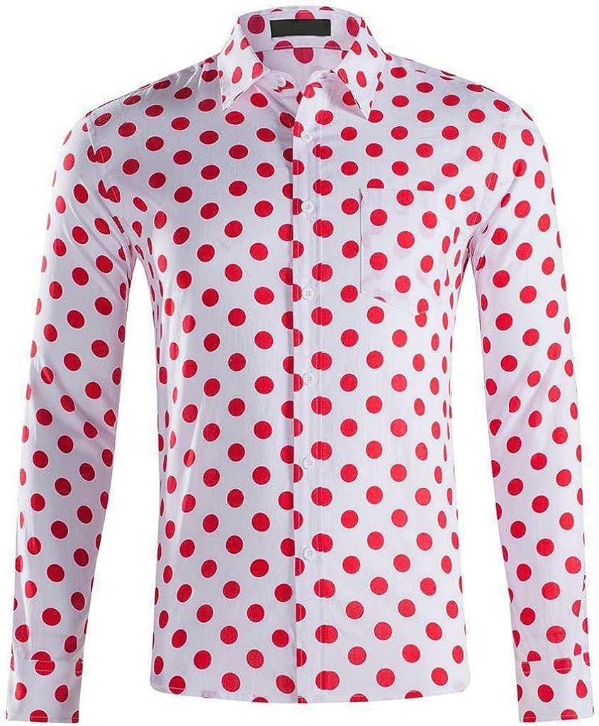 WINJIN Camisa Hawaiana para Hombre, Camiseta de Manga Corta con Estampado de Lunares Tropicales Rojo L: Amazon.es: Ropa y accesorios