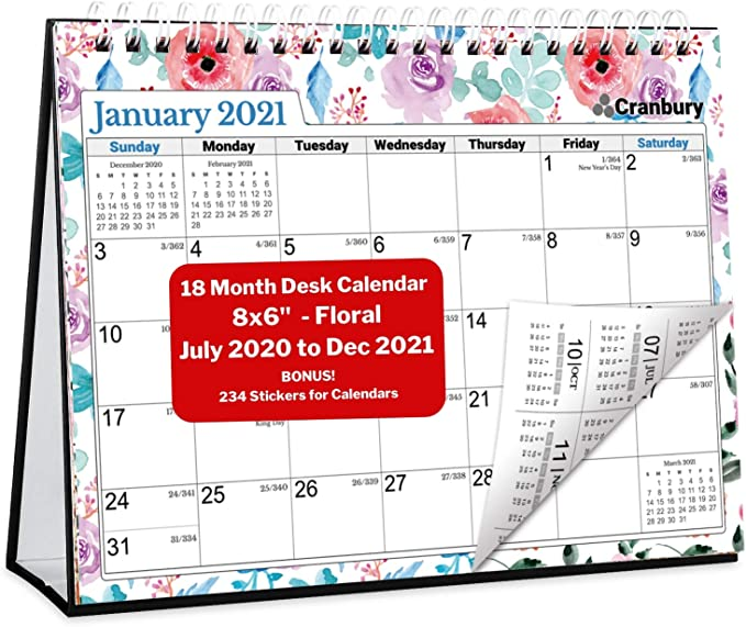 Amazon.: CRANBURY Mini Desk Calendar 2020 2021   (Floral, 8x6