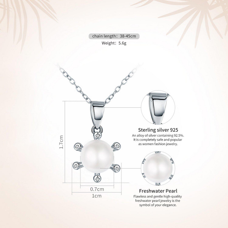 CS-DB Pendants Snowflake White Round Pearl Silver Necklaces