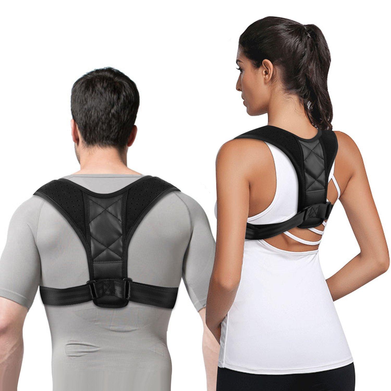 Posture Corrector for Women Men Children, Back Shoulder Brace Support with 2 Protection Pads as Gift, Adjustable Clavicle Support Brace Correction to Improve Shoulder Alignment, Thoracic Kyphosis (XL)
