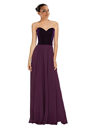 Mollybridal Sweetheart Empire Waist Velvet Bridesmaid Dress Long Chiffon Party Prom Dresses Purple 2