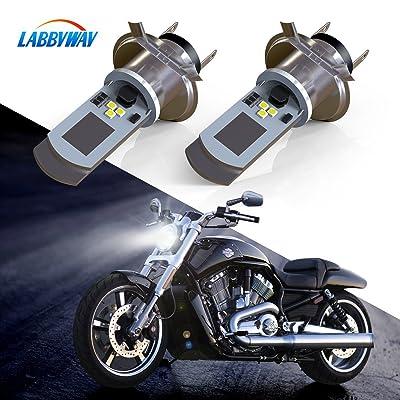 LABBYWAY 2 Pcs H4 LED Bulb Super Bright 900 Lumen Motorcycle Headlights Lamp High Low Beam Lights Used for Suzuki Kawasaki BMW Yamaha Honda,Xenon White: Automotive