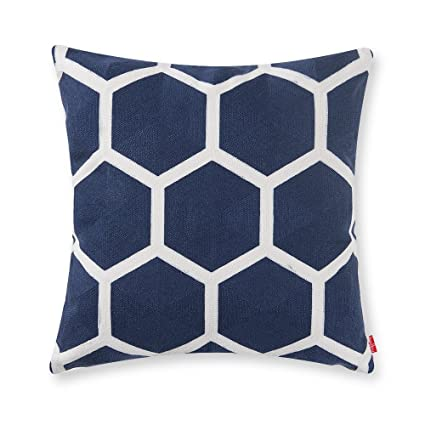 Baibu Designer Decor Throw Pillow Case Geometric Embroidery Teal Accent  Pattern Cushion Covers For Sofa Pillows