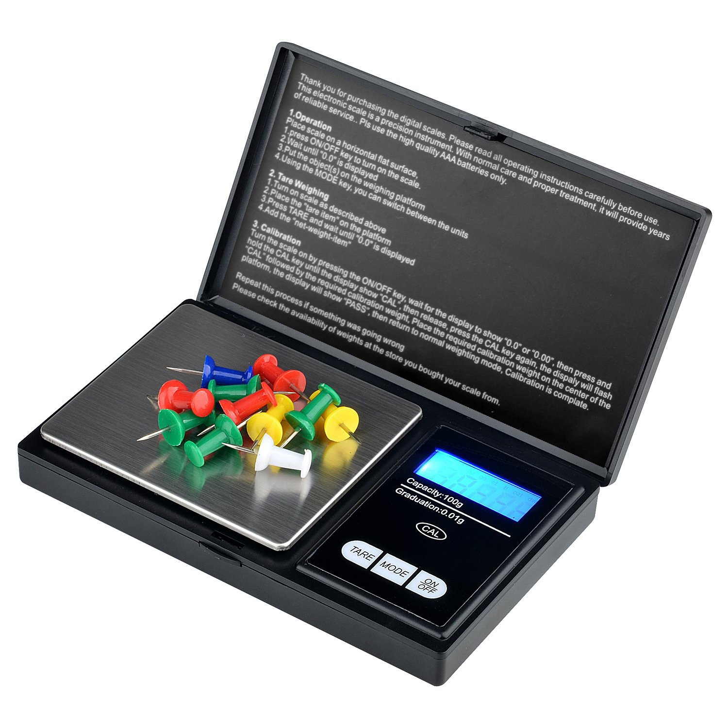 Insten Digital Jewelry Scale, Mini Pocket Size, Accurate Detail up to 0.01g – 100g, 6 Weighing Mode, Precision Weight for Gold, Gems, Coins, Jewelry, Calibration Weight