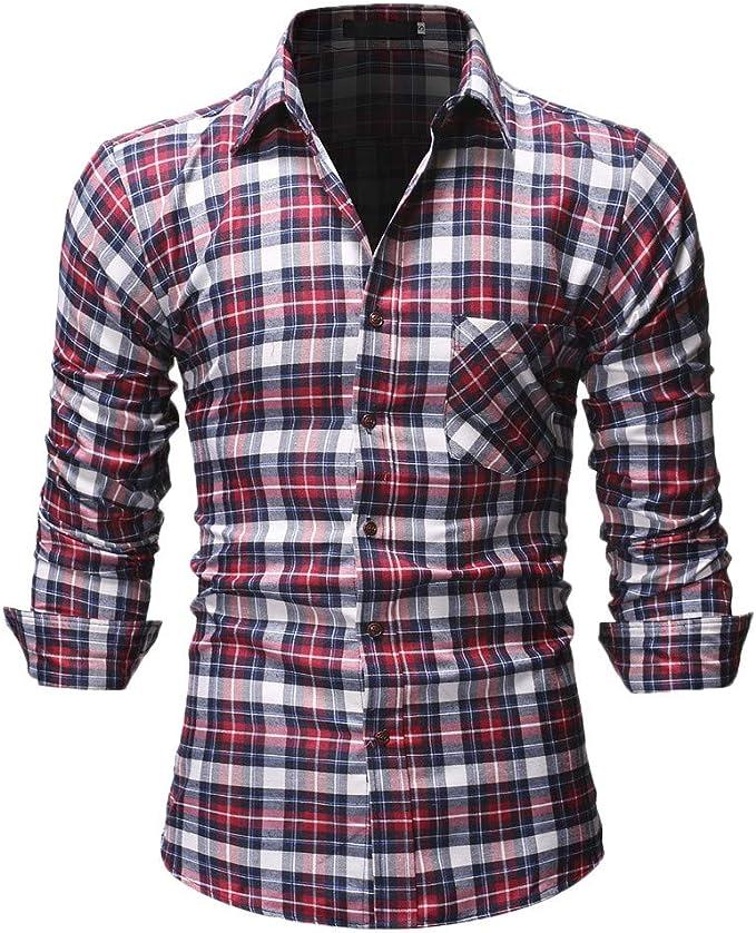 YEBIRAL Camisetas Hombre Manga Larga Casual Slim Fit Regular ...