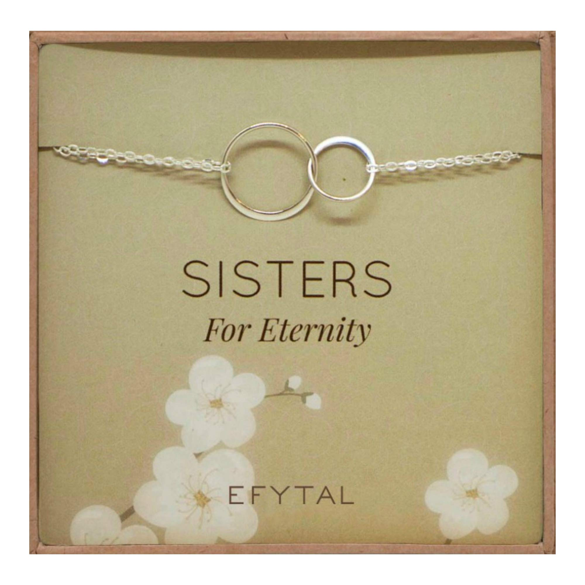 EFYTAL Sterling Silver Sisters Bracelet, Infinity Joined Two Interlocking Double Circles on Card Gift for Sister by EFYTAL
