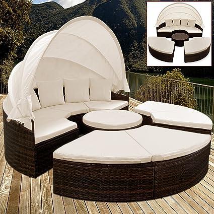 Deuba Xxl Poly Rattan Sonneninsel O 230cm I Mit Dach Tisch I 7cm Dicke Auflagen 4 Kissen I Braun Lounge Liege Sitzgarnitur Gartenmobel Set