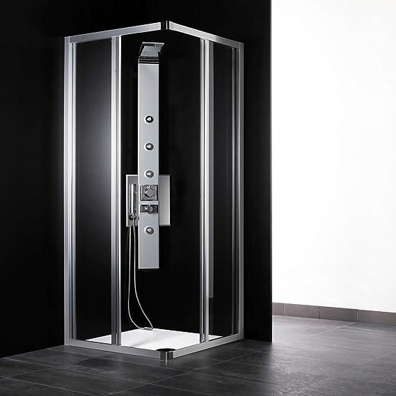 Cabina de ducha angular de 70 x 70 cm, cristal transparente, perfil de aluminio blanco (extensible 68-70): Amazon.es: Bricolaje y herramientas