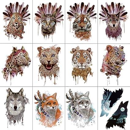 WYUEN 12 piezas/lote Aborígenes Animales Temporal Tatuaje Adhesivo ...
