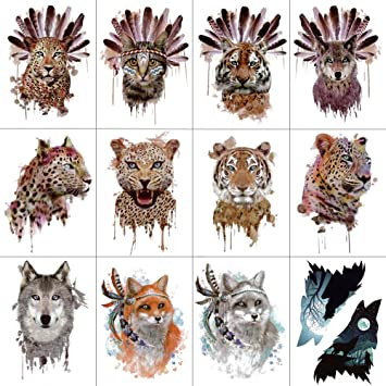 174f6b064 Amazon.com : WYUEN 12 PCS/lot Wolf Temporary Tattoo Sticker for Women Men  Fashion Body Art Adults Waterproof Hand Fake Tatoo 9.8X6cm FW12-01 (Leopard)  : ...