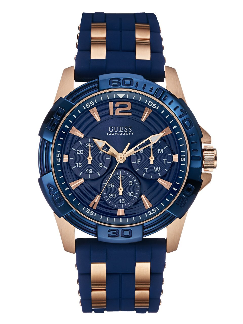 GUESS  Comfortable Blue Stain Resistant Silicone + Rose Gold-Tone Stainless Steel Watch with Day, Date + 24 Hour Military/Int'l Time. Color: Blue (Model: U0366G2)