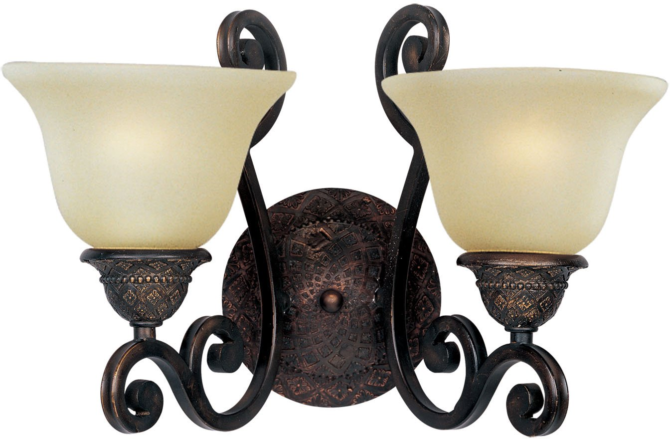 Maxim Lighting 11247SVOI Two Light Soft Vanilla Glass Wall Light, Oil Rubbed Bronze