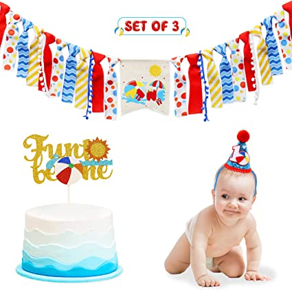 Remarkable Amazon Com Beach Ball High Chair Banner For 1St Birthday Cake Funny Birthday Cards Online Inifodamsfinfo