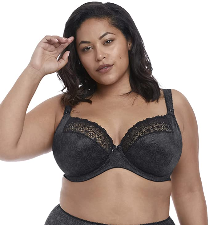 Elomi Tori Plunge Bra 4370 Underwired Non-Padded Lingerie Womens Full Cup Bras