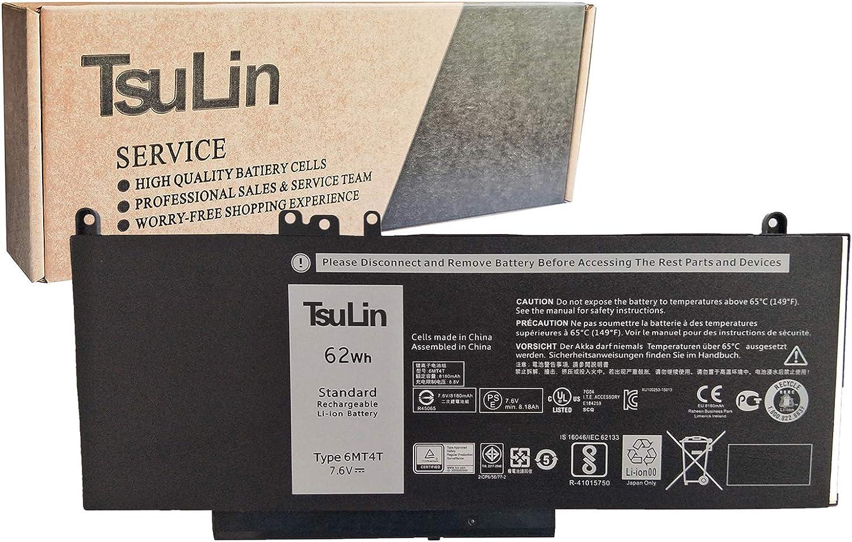 TsuLin 6MT4T Laptop Battery Compatible with Dell Latitude E5470 E5570 5470 5570 Series Notebook 0HK6DV 079VRK 0TXF9M TXF9M 7.6V 62Wh 8180mAh