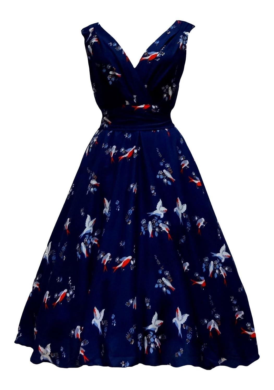 Ladies 1940\'s 1950\'s Vintage Retro Style Blue Bird Print Full Circle ...