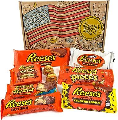Heavenly Sweets Dulces Reeses Cesta de Chocolate Americano - Chocolates y Mantequilla Mani Favoritos de EEUU - Tazas y Barra - Regalo para Cumpleaños, Navidad - 9 Golosinas, Pack Retro - 25x18x2,5cm: