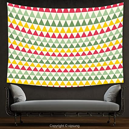 House Decor Tapestry Retro Colorful Triangles Sharp Edged Geometric Shapes  In Horizontal Line Dark Coral Yellow