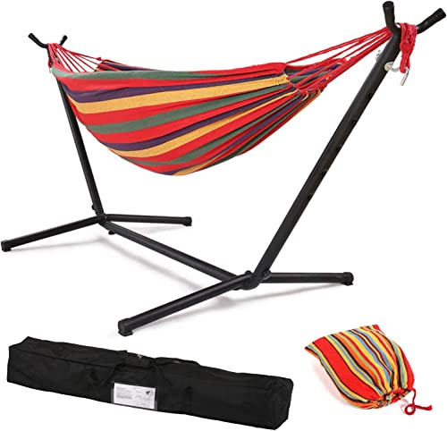 Vnewone Hammock with Stand 2 Person Heavy Duty Portable Hammock Stand with 9 FT Space Saving Steel Stand Portable Carrying Case Weather-Resistant Finish for Patio Backyard Garden Red Hammock