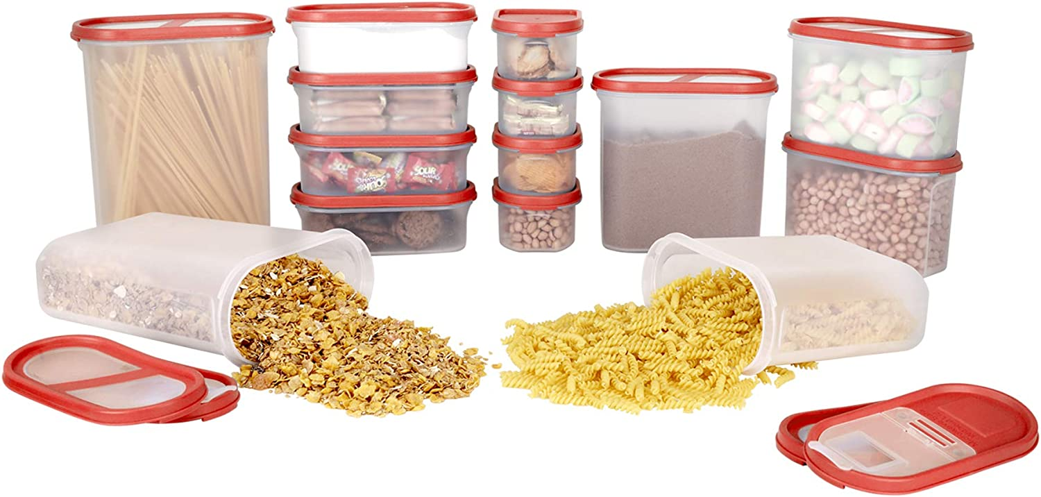 SIMPARTE Pantry Airtight Food Storage Containers |14 Container Set|Microwave & Dishwasher Safe|BPA Free|Cereal and Dry Food Storage Containers| Freezer Safe | Space Saver Modular Design Red Lids