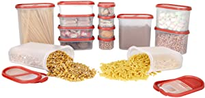SIMPARTE Pantry Airtight Food Storage Containers  14 Container Set Microwave & Dishwasher Safe BPA Free Cereal and Dry Food Storage Containers  Freezer Safe   Space Saver Modular Design Red Lids