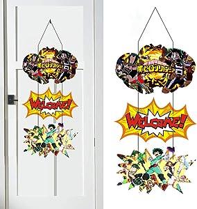My Hero Academia Door Sign Welcome Hanger Themed Birthday Party Supplies Front Door Decor Hanging For My Hero Academia Fans