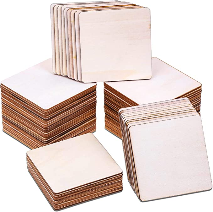 80Pcs Wood Burning Pieces Selizo Wood Burning Kit with 4 x 4 Inch Unfinished Wood Squares Crafts Tiles Blank Wooden Slices for Wood Burning Coasters Painting Carving